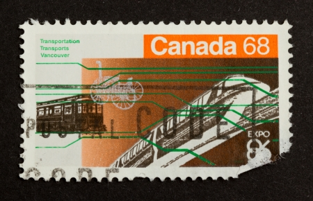 modes: CANADA - CIRCA 1980: Stamp printed in Canada shows several world expo transportation modes, circa 1980