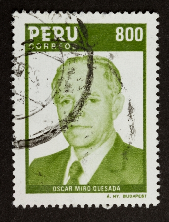 PERU - CIRCA 1980: Stamp printed in the Peru shows a picture of Oscar Miro Quesada, circa 1980