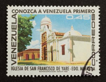 VENEZUELA - 1968: Stamp printed in the Venezuela shows a local building, 1968 photo