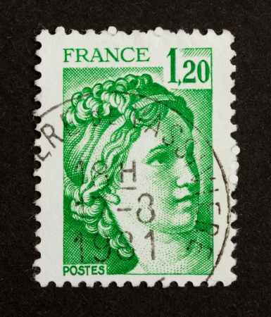 FRANCE - CIRCA 1970: Stamp printed in France shows an important national icon (woman), circa 1970 Stock Photo - 13904150