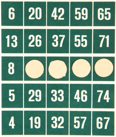 Green bingo card isolated on a white background