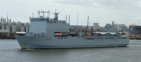 British Navy ship in the port of Rotterdam (Holland)