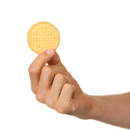 Man with a biscuit in his hand, isolated on white Stock Photo - 14410863