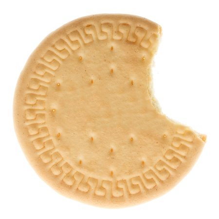 missing bite: Close up delicious biscuit - isolated on white background
