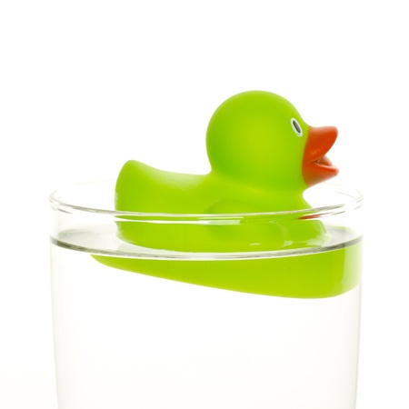 Green duck in a glass of water photo