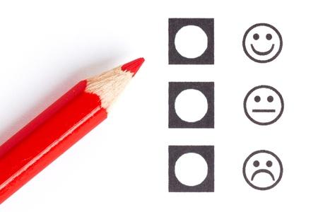 Crayon rouge choisir le bon smiley (humeur)