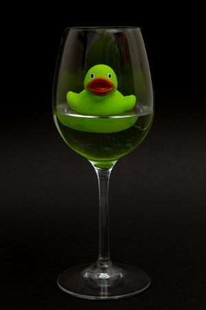 Green rubber duck in a wineglass with water (black background) photo