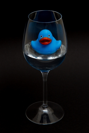 Blue rubber duck in a wineglass with water (black background) photo