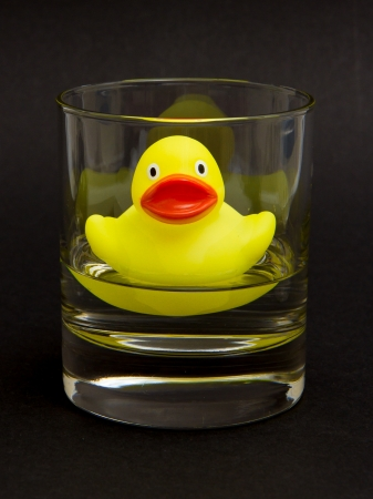Yellow rubber duck in a whiskyglass with water (black background) photo