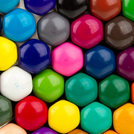 colored pencil: Many different color pencils, view from the bottom Stock Photo