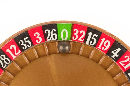 roulette wheel: Used very old game, roulette wheel and ball Stock Photo