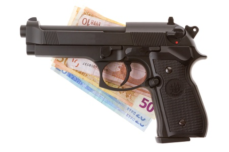 magnum: Semi-automatic gun and money isolated on white background