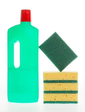 House cleaning product. Plastic bottles with detergent and sponge isolated on white background photo