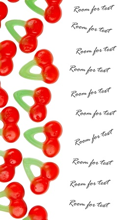 Cherry candy (dutch) isolated against white background, room for text photo