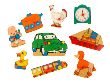 Piece of an antique wooden puzzle for children leaning illustrations (1970, car) Stock Illustration - 14429840