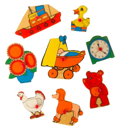 Piece of an antique wooden puzzle for children leaning illustrations (1970, carriage) illustration