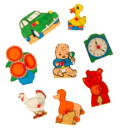 Piece of an antique wooden puzzle for children leaning illustrations (1970, child) Stock Illustration - 14429630