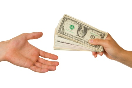 creditor: Transfer of money between man and woman, isolated on white Stock Photo