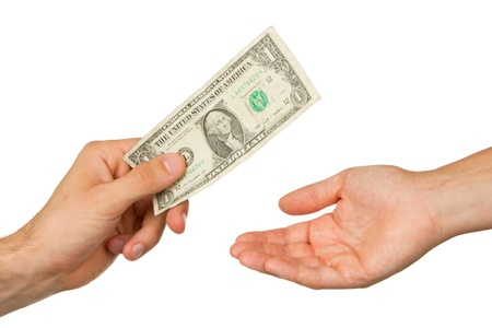 payer: Transfer of money between man and woman, isolated on white Stock Photo