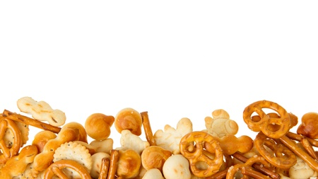 snack: Typical dutch salty snack, isolated on white, room for text Stock Photo