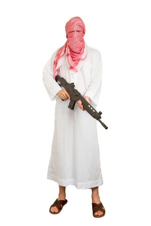 Arab adult with a machine gun, terrorist, isolated on white Stock Photo - 14483974