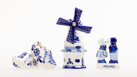 Typical dutch delft blue ceramic, isolated on white photo