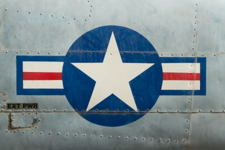 displayed: Tail of Vietnam war Airplane displayed in Saigon (Vietnam)