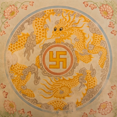 Swastika symbol in decoration in a ancient temple in Vietnam (Nha Trang)