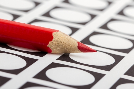Red pencil used for voting (election America) Stock Photo
