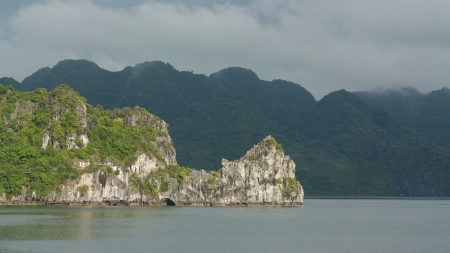 Limestone rocks in Halong Bay, Vietnam, one of the seven world wonders photo