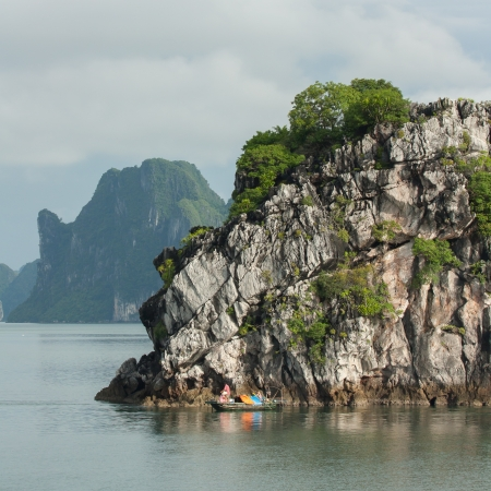 long bay: Fishing boat in the Ha Long Bay, Vietnam