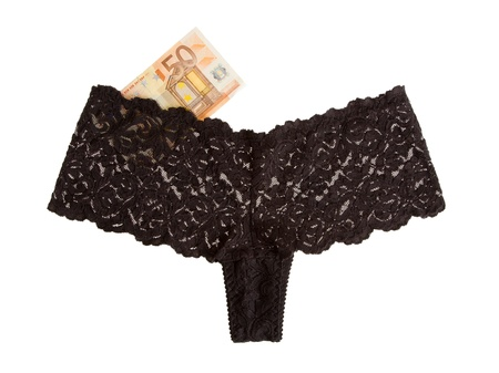 Woman s panties and 50 euro isolated on a white background Stock Photo - 15247169
