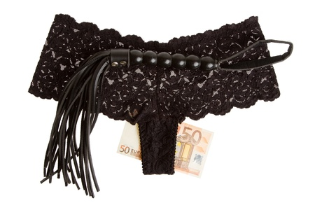 Kinky and fetish whip, underwear and money isolated on white background, prostitute Stock Photo - 15310966