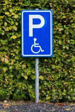 se�al parking: Primer plano de una se�al de aparcamiento para minusv�lidos sucio