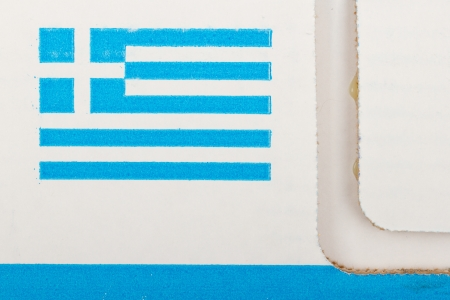 economic revival: Close-up of the flag of Greece printed on a glued cartboard box
