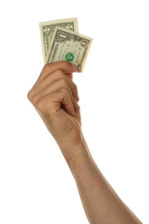 one dollar bill: Man holding a one dollar bill in his hand, isolated on white Stock Photo