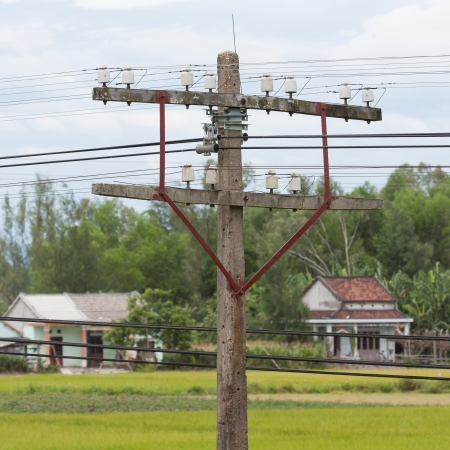 Small electrical tower in the poor parts of Vietnam photo
