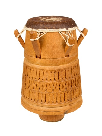 Djembe, Surinam percussion, handmade wooden drum with goat skin, ethnic musical instrument of carved wood and leather membrane, isolated photo