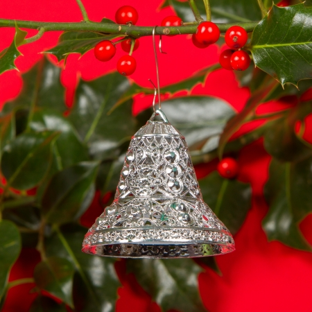 Old silver bells hanging in Butchers broom, isolated photo