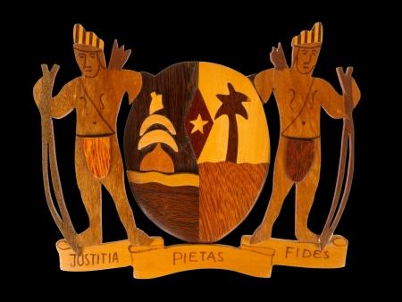 justitia: S�mbolo tallado de Justitia de Suriname, aislado en blanco
