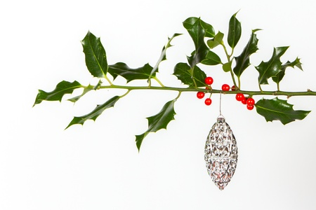 jezus: Very old silver christmas ball hanging from a twig (butchers broom), isolated