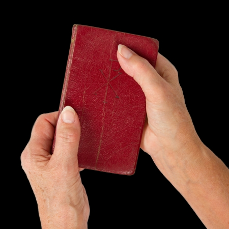 Old hands (woman) holding a very old bible, isolated on white photo