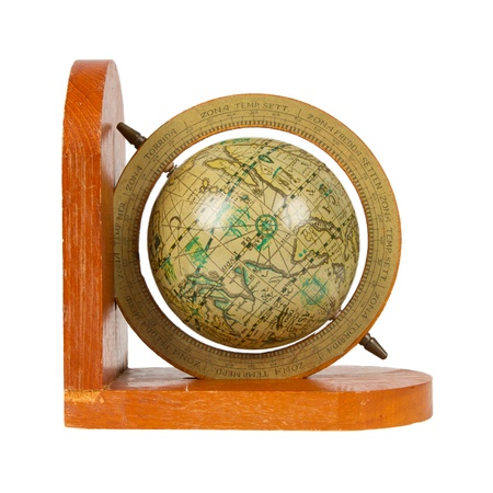 Small decorative antique globe, isolated on white Stock Photo