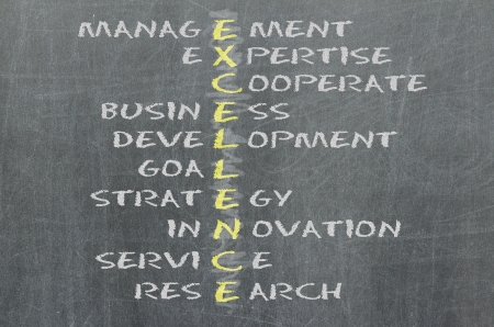 Conceptual EXCELLENCE acronym written on black chalkboard blackboard. Management, expert, development, strategy, research, service, goal Stock Photo - 16209971