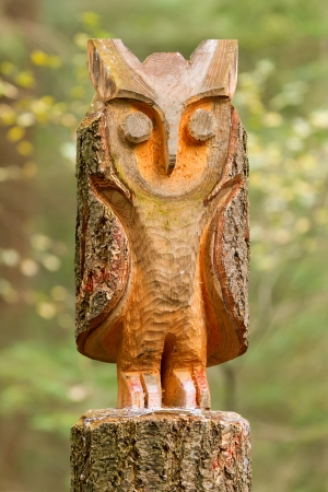 Old wooden carved owl on forest background photo