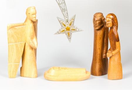 guardería: Escena del pesebre de madera, aislado