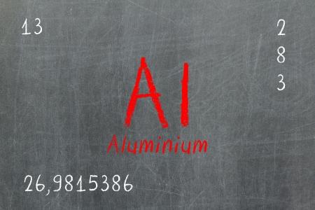 atomic: Isolated blackboard with periodic table, Aluminium, Chemistry