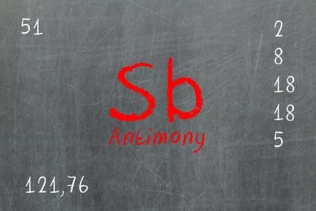 antimony: Isolated blackboard with periodic table, Antimony, Chemistry