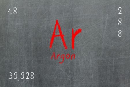 Isolated blackboard with periodic table, Argon, chemistry photo