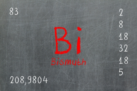 halogens: Isolated blackboard with periodic table, Bismuth, Chemistry
